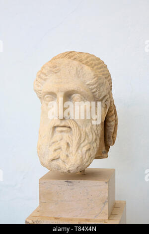 Delos, Mykonos, South Aegean, Greece. Marble bust of Hermes, formerly part of the Stoa of Antigonus, Delos Archaeological Museum. - Stock Photo