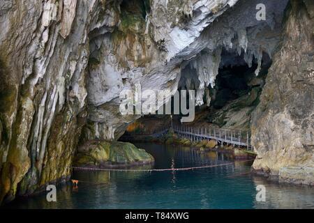 Grotta del Bue Marino limestone caves entrance, Gulf of Orosei, Gennargentu National Park, Cala Gonone, Sardinia, Italy, June 2018. - Stock Photo