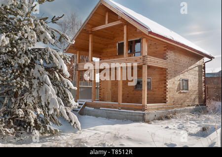 New residental house under construction in rural place - Stock Photo