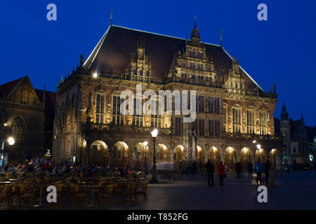 UNESCO cultural heritage town hall in Bremen during blue hour - Stock Photo