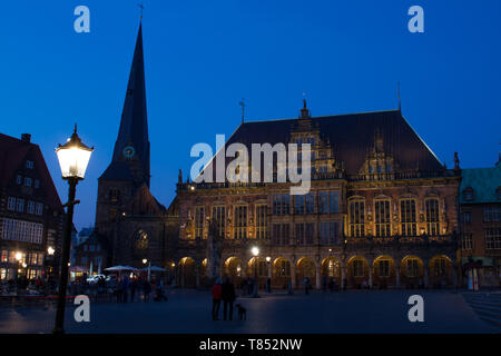 UNESCO cultural heritage town hall and market square in Bremen during blue hour - Stock Photo