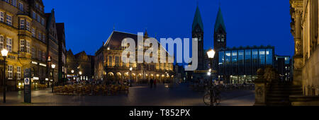 Panorama of historic market square in Bremen with UNESCO cultural heritage town hall and St. Petri Dom - Stock Photo