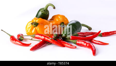 Group of hot Piri-Piri peppers isolated on white background - Stock Photo