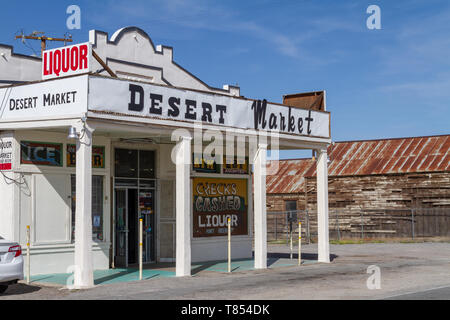 Barstow, CA / USA – April 14, 2019: Historic building of the Desert Market is know as a Route 66 landmark in Daggett, California. - Stock Photo