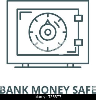 Bank money safe vector line icon, linear concept, outline sign, symbol - Stock Photo