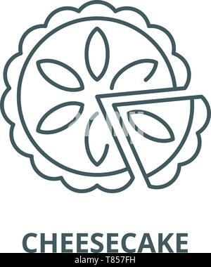 Cheesecake vector line icon, linear concept, outline sign, symbol - Stock Photo