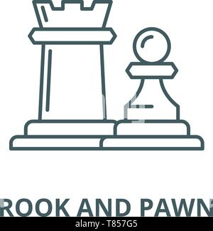 Chess pieces rook and pawn vector line icon, linear concept, outline sign, symbol - Stock Photo