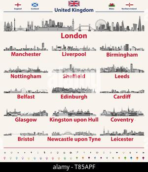United Kingdom largest cities skylines vector set - Stock Photo