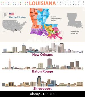 Baton Rouge Louisiana City map with American national flag ...