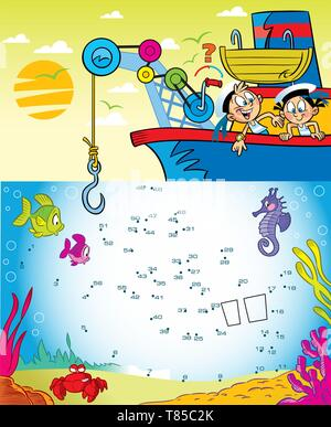 In the vector illustration puzzle with cartoon kids play sailors on the ship. Connect the dots to find out which object the children are lifting onto  - Stock Photo