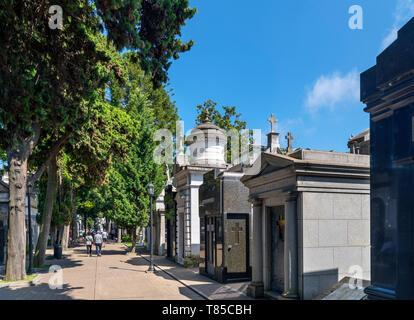Mausoleums in the Cementerio de la Recoleta (La Recoleta Cemetery), whera Eva Peron is entombed, Buenos Aires, Argentina - Stock Photo