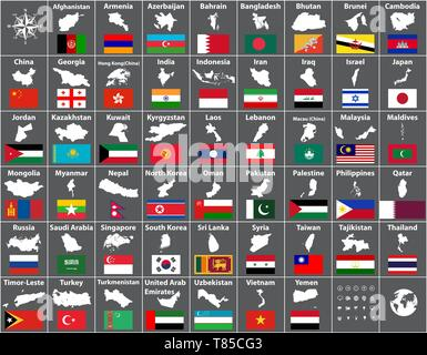 vector maps and flags of all asian countries arranged in alphabetical order - Stock Photo