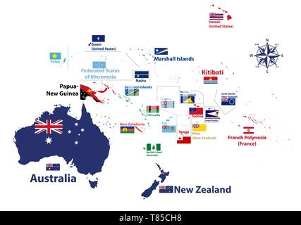 Australia and Oceania region vector high detailed map with countries names and national flags - Stock Photo