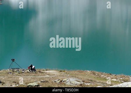 Mountain lake Weißsee at Hohe Tauern in the Austrian Alps - Stock Photo