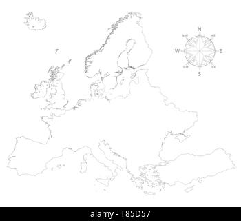 Europe vector high detailed map - Stock Photo