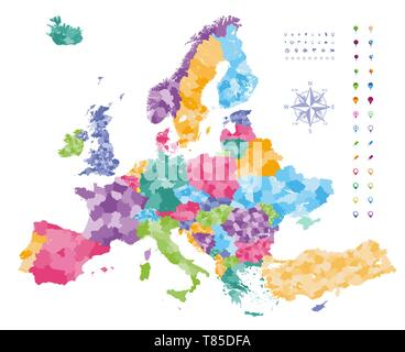 Europe vector high detailed political map - Stock Photo