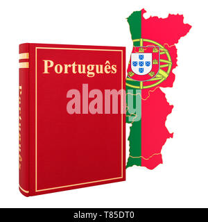 Portuguese language book with map of Portugal, 3D rendering isolated on white background - Stock Photo