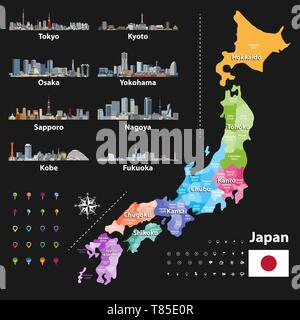 vector illustration of Japanese flag and prefectures map colored by regions - Stock Photo