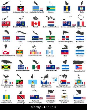 vector flags and maps of North American countries - Stock Photo