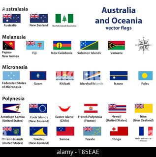 Australia and Oceania vector countries flags - Stock Photo
