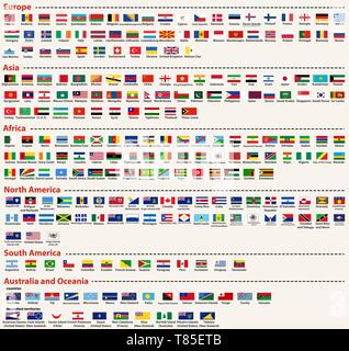 vector set of all world flags arranged in alphabetical order and singled out by continents - Stock Photo