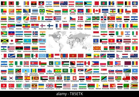 vector set of all world flags arranged in alphabetical order isolated on white background. World map with countries names and borders - Stock Photo