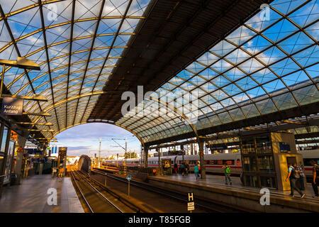 Hamburg, Germany - July 3, 2014: Berlin-Spandau station, the Deutsche Bahn station in the Berlin district of Spandau. Station has the longest train sh - Stock Photo