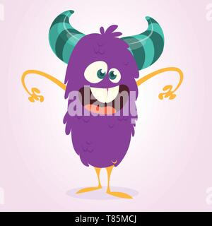 Scary cartoon monster. Vector Halloween illustration - Stock Photo