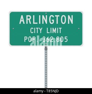 Vector illustration of the Arlington City Limit green road sign - Stock Photo