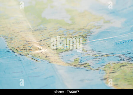 Selective focus of american continents on world map - Stock Photo