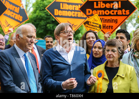 Guy Verhofstadt, the EU Parliament's representative on Brexit and the Leader of the Alliance of Liberals and Democrats for Europe is seen with the leader of Liberal Democrats Vince Cable, Liberal Democrats MEP candidates and party activists during the forthcoming European Union election campaign. Britain must hold European Parliament elections on 23rd May 2019 or leave the European Union with no deal on 1st June after Brexit was delayed until 31st October 2019, as Prime Minister, Theresa May failed to get her Brexit deal approved by Parliament. - Stock Photo