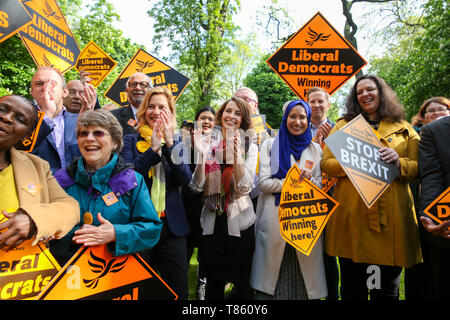 Liberal Democrats MEP candidates and party activists are seen during the forthcoming European Union election campaign. Britain must hold European Parliament elections on 23rd May 2019 or leave the European Union with no deal on 1st June after Brexit was delayed until 31st October 2019, as Prime Minister, Theresa May failed to get her Brexit deal approved by Parliament. - Stock Photo