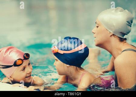 Swimming lesson - Stock Photo