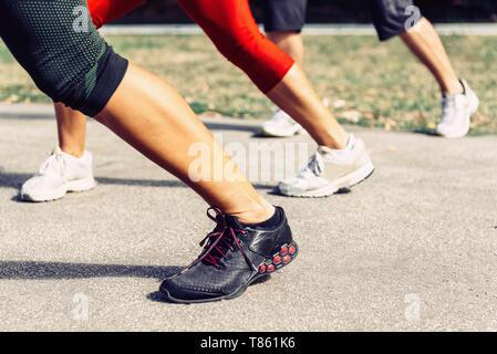 Kickboxing training outdoors - Stock Photo