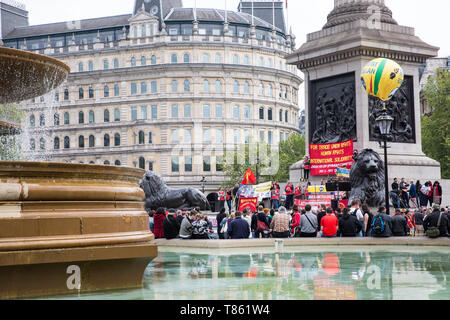 London, UK. 1st May, 2019. Representatives of trade unions and socialist and communist parties from many different countries attend the annual May Day - Stock Photo