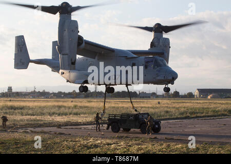 U.S. Marines with Special Purpose Marine Air-Ground Task Force-Crisis Response-Africa 19.2, Marine Forces Europe and Africa, conduct external-lift training at Naval Air Station Sigonella, Italy, May 1, 2019. SPMAGTF-CR-AF is deployed to conduct crisis-response and theater-security operations in Africa and promote regional stability by conducting military-to-military training exercises throughout Europe and Africa. (U.S. Marine Corps photo by Staff Sgt. Mark E. Morrow Jr. ) - Stock Photo