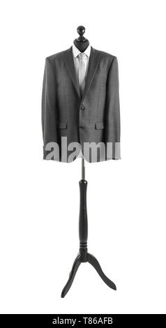 Custom tailored jacket and shirt on mannequin against white background - Stock Photo