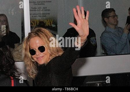 NEW YORK, NEW YORK - MAY 04: Meg Ryan is seen arriving to  'Yesterday' Closing Night Gala Film - 2019 Tribeca Film Festival at BMCC Tribeca PAC on May - Stock Photo