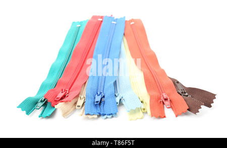 Colourful zippers on white background - Stock Photo