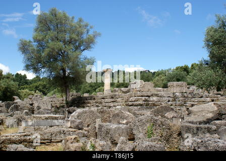 Olympia archaeological site where the ancient Olympic games were held, Olympia, Peloponnese, Greece - Stock Photo