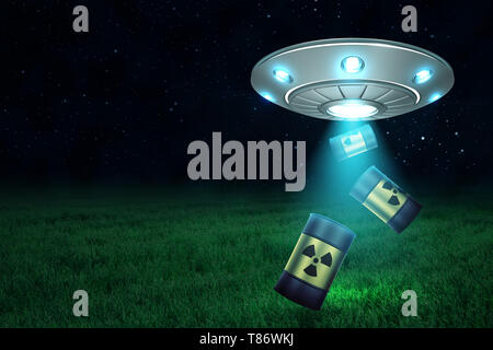 3d rendering of silver metal UFO with black radioactive barrels on dark night sky and green grass background - Stock Photo