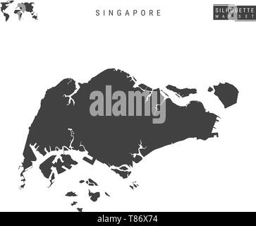 Singapore Blank Vector Map Isolated on White Background. High-Detailed Black Silhouette Map of Republic of Singapore. - Stock Photo