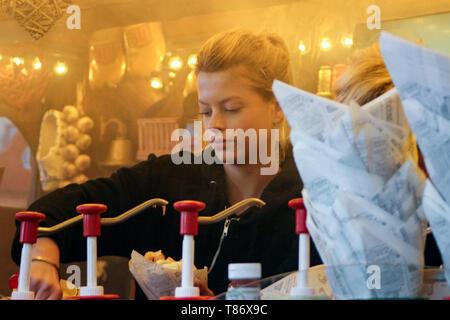Dutch fries vendor on Dam Square in Amsterdam, Netherlands - Stock Photo