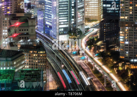 View of sky train traffic running in city downtown at Daimon, Tokyo, Japan - Stock Photo