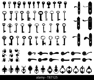 Silhouettes of door handle, knocker, latch, keys and padlocks - Stock Photo