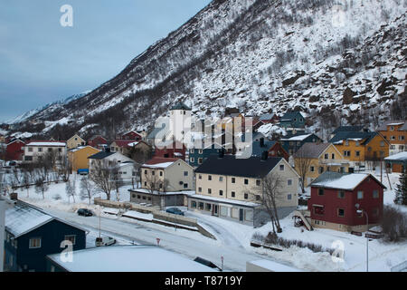 Oksfjord Norway, view of small township residential buildings and church - Stock Photo