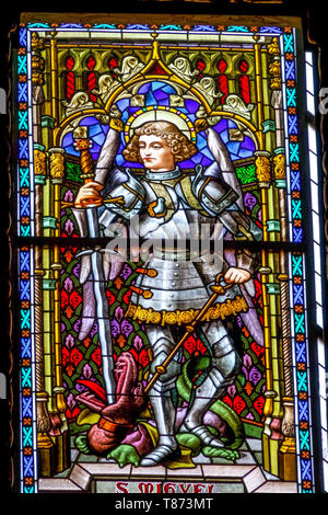 Stained Glass in Valencia Cathedral, St Michael Archangel, Spain - Stock Photo