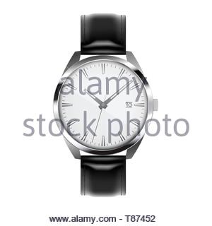 Realistic illustration of silver wristwatch with metal trim and black leather bracelet. Isolated on white background. - Stock Photo