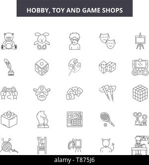 Hobby toy and game shop line icons, signs, vector set, outline concept, linear illustration - Stock Photo