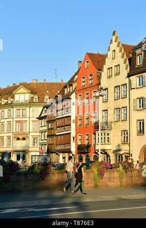 France, Bas Rhin, Strasbourg, old town listed as World Heritage by UNESCO, quai Saint Nicolas - Stock Photo